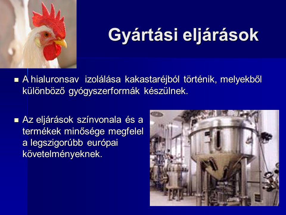 Gyártási eljárások A hialuronsav izolálása kakastaréjból történik, melyekből különböző gyógyszerformák készülnek.