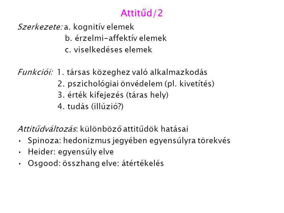 Attitűd/2 Szerkezete: a. kognitív elemek b. érzelmi-affektív elemek