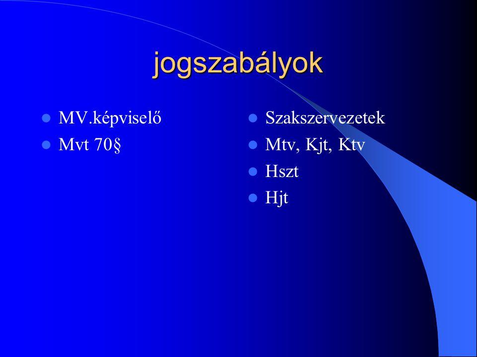 jogszabályok MV.képviselő Mvt 70§ Szakszervezetek Mtv, Kjt, Ktv Hszt