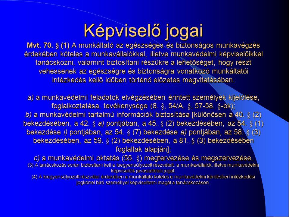 Képviselő jogai Mvt. 70.