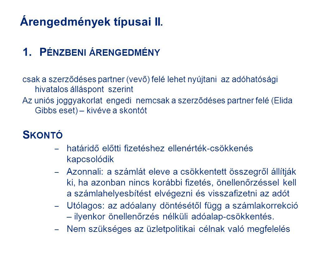 Árengedmények típusai II.