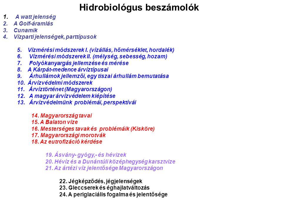 Hidrobiológus beszámolók
