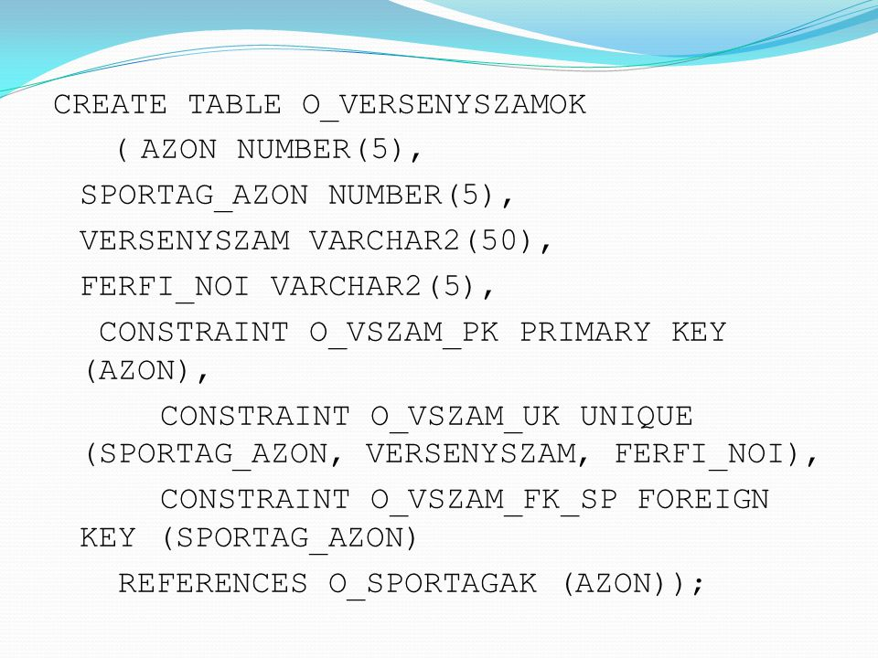 CREATE TABLE O_VERSENYSZAMOK ( AZON NUMBER(5), SPORTAG_AZON NUMBER(5), VERSENYSZAM VARCHAR2(50), FERFI_NOI VARCHAR2(5), CONSTRAINT O_VSZAM_PK PRIMARY KEY (AZON), CONSTRAINT O_VSZAM_UK UNIQUE (SPORTAG_AZON, VERSENYSZAM, FERFI_NOI), CONSTRAINT O_VSZAM_FK_SP FOREIGN KEY (SPORTAG_AZON) REFERENCES O_SPORTAGAK (AZON));