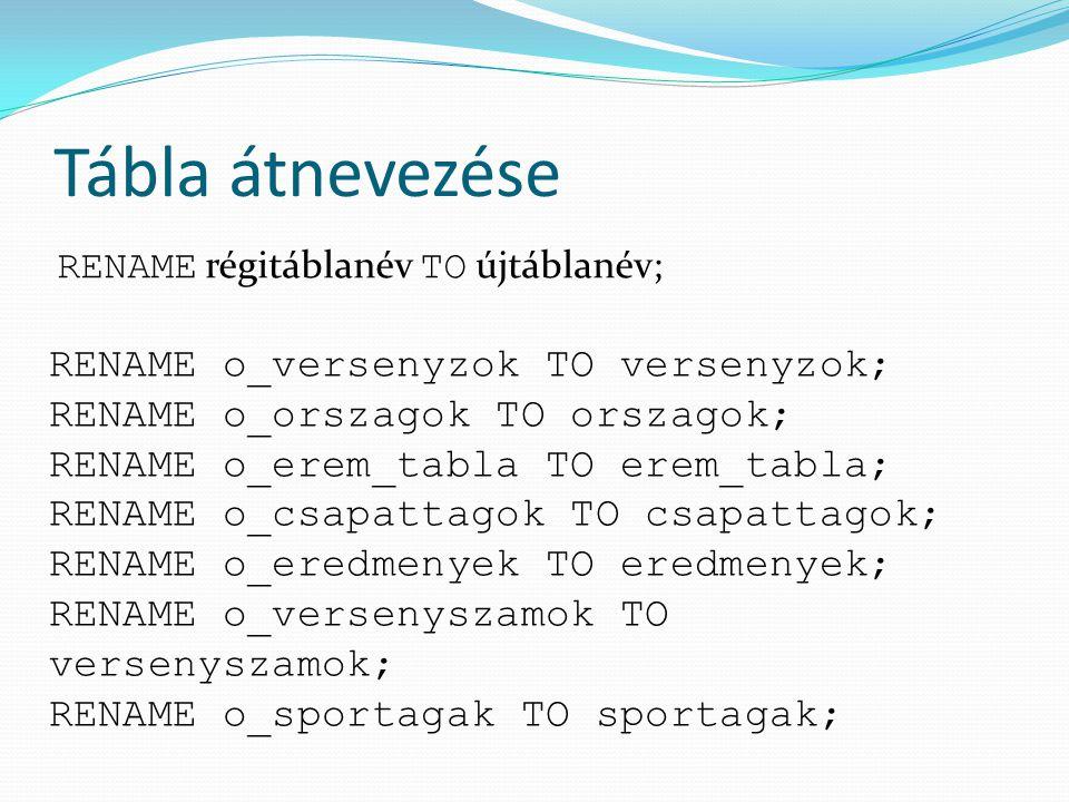 Tábla átnevezése RENAME o_versenyzok TO versenyzok;