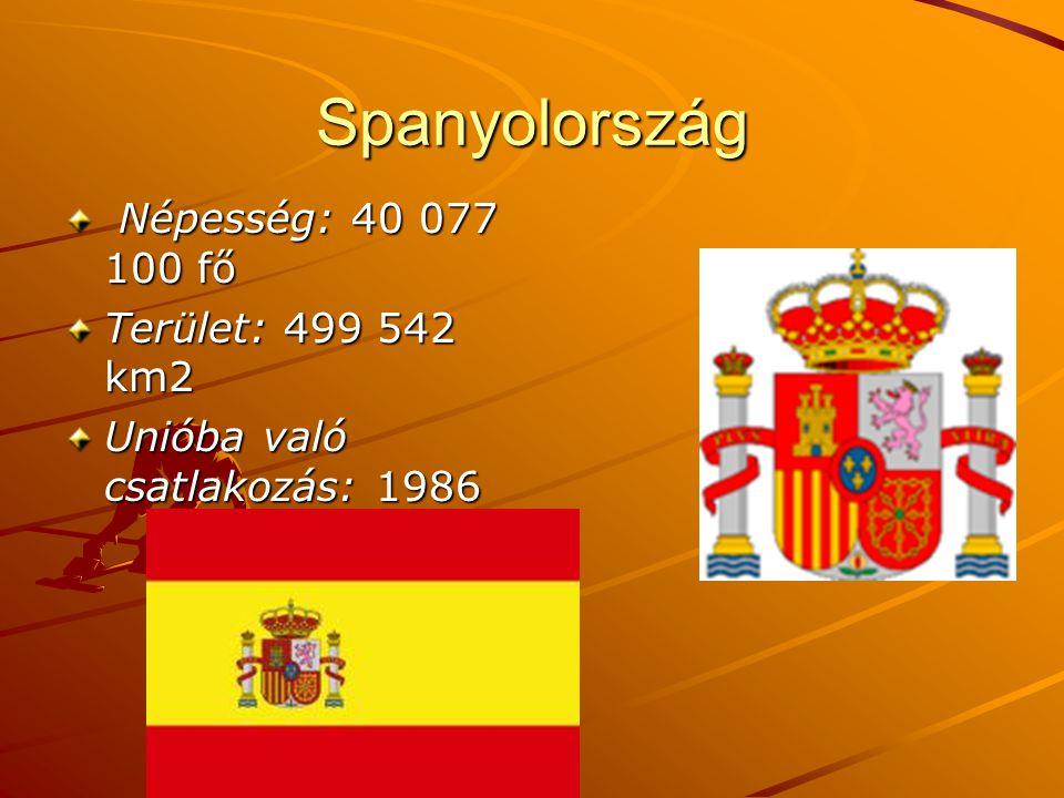 Spanyolország Népesség: 40 077 100 fő Terület: 499 542 km2