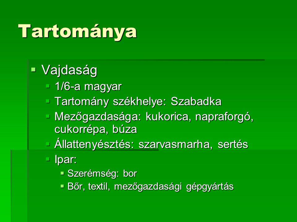 Tartománya Vajdaság 1/6-a magyar Tartomány székhelye: Szabadka