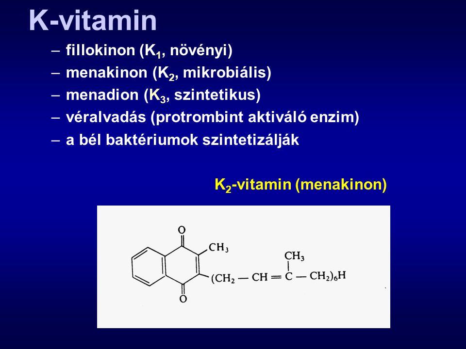 K-vitamin fillokinon (K1, növényi) menakinon (K2, mikrobiális)