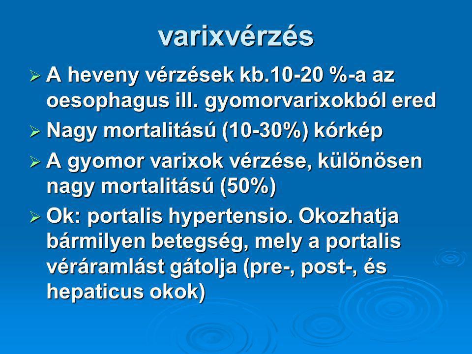 varixvérzés A heveny vérzések kb.10-20 %-a az oesophagus ill. gyomorvarixokból ered. Nagy mortalitású (10-30%) kórkép.