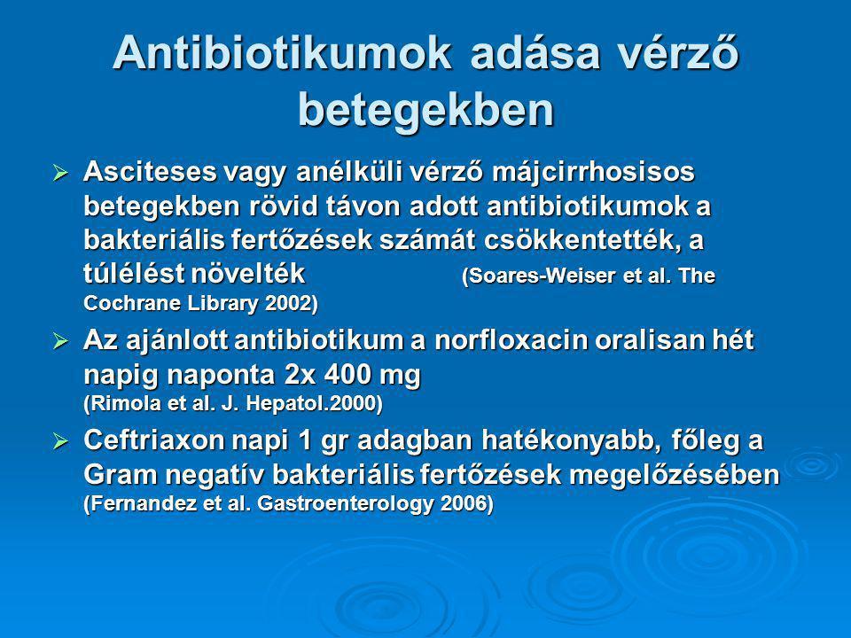 Antibiotikumok adása vérző betegekben