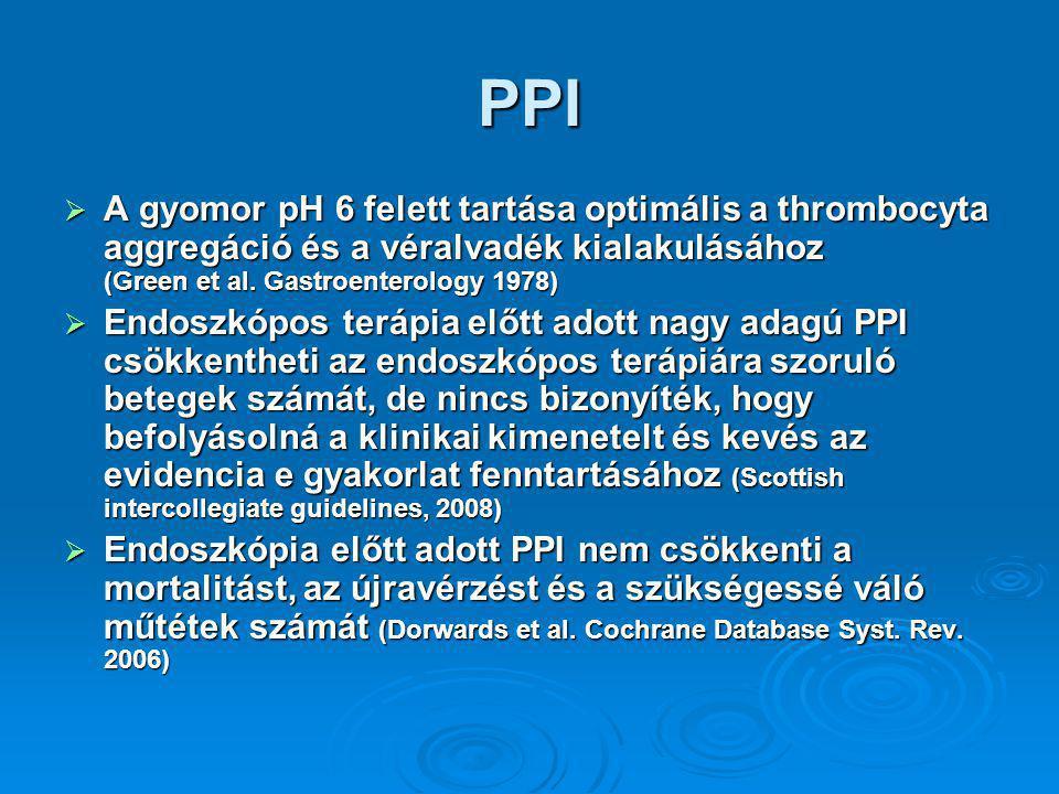 PPI A gyomor pH 6 felett tartása optimális a thrombocyta aggregáció és a véralvadék kialakulásához (Green et al. Gastroenterology 1978)
