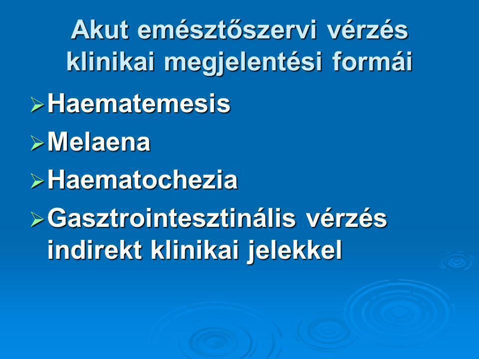 Akut emésztőszervi vérzés klinikai megjelentési formái