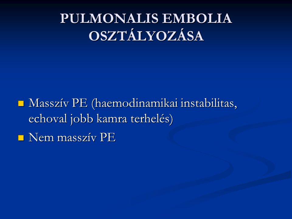 PULMONALIS EMBOLIA OSZTÁLYOZÁSA