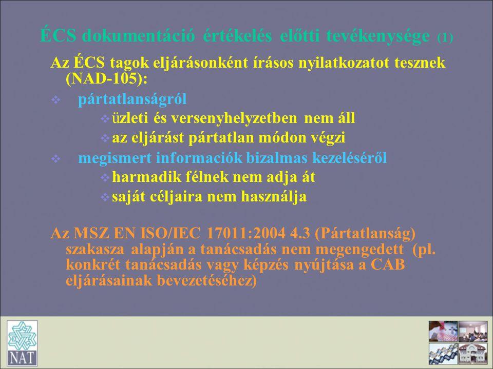 ÉCS dokumentáció értékelés előtti tevékenysége (1)
