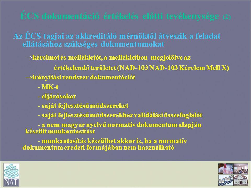 ÉCS dokumentáció értékelés előtti tevékenysége (2)
