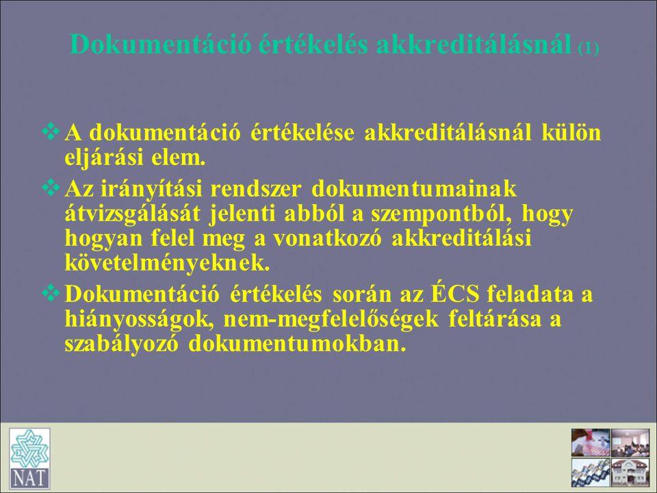 Dokumentáció értékelés akkreditálásnál (1)