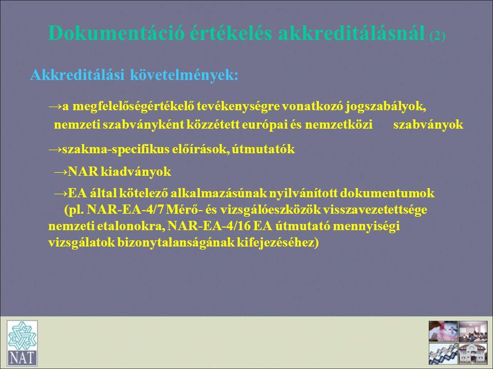 Dokumentáció értékelés akkreditálásnál (2)