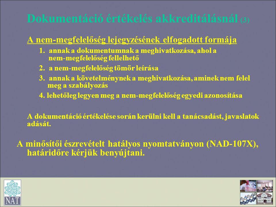 Dokumentáció értékelés akkreditálásnál (3)