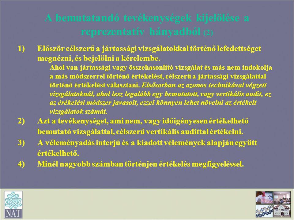 A bemutatandó tevékenységek kijelölése a reprezentatív hányadból (2)