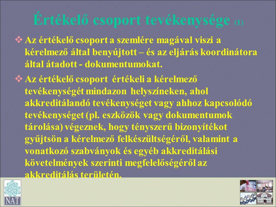 Értékelő csoport tevékenysége (1)
