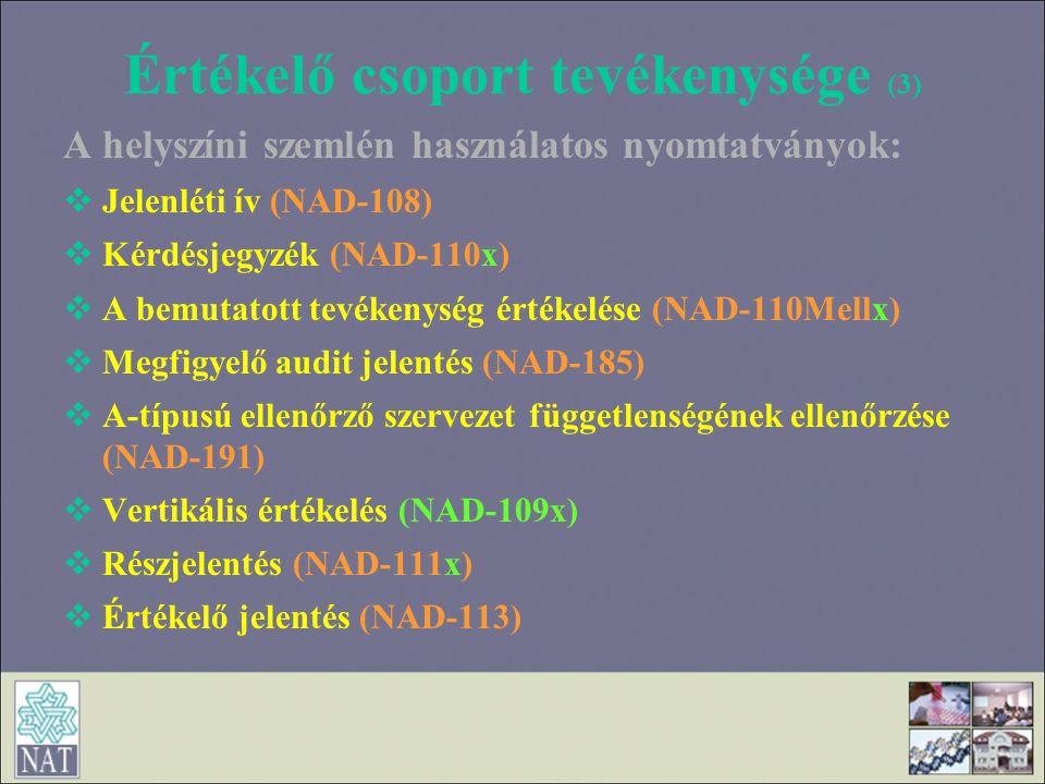 Értékelő csoport tevékenysége (3)
