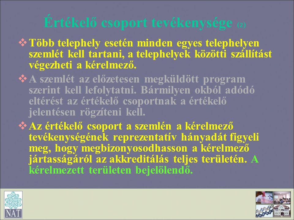 Értékelő csoport tevékenysége (2)