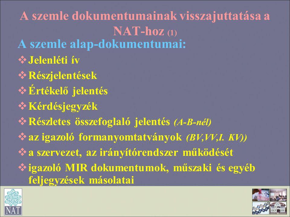A szemle dokumentumainak visszajuttatása a NAT-hoz (1)