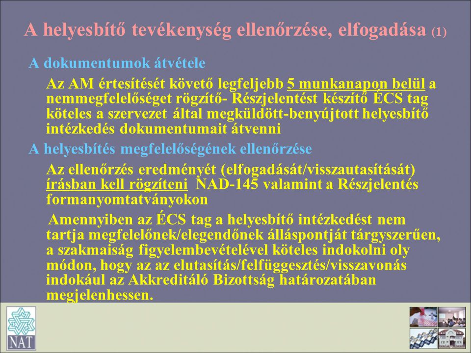 A helyesbítő tevékenység ellenőrzése, elfogadása (1)