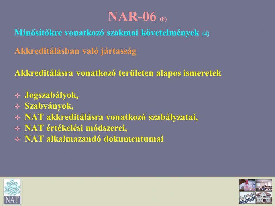 NAR-06 (8) Minősítőkre vonatkozó szakmai követelmények (4)