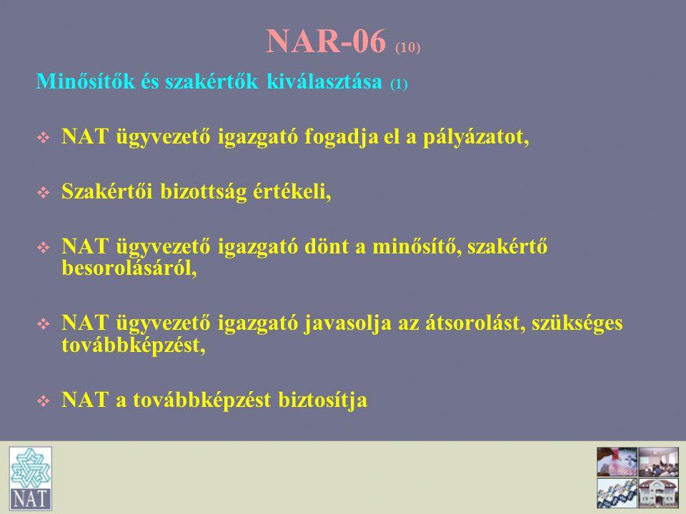 NAR-06 (10) Minősítők és szakértők kiválasztása (1)