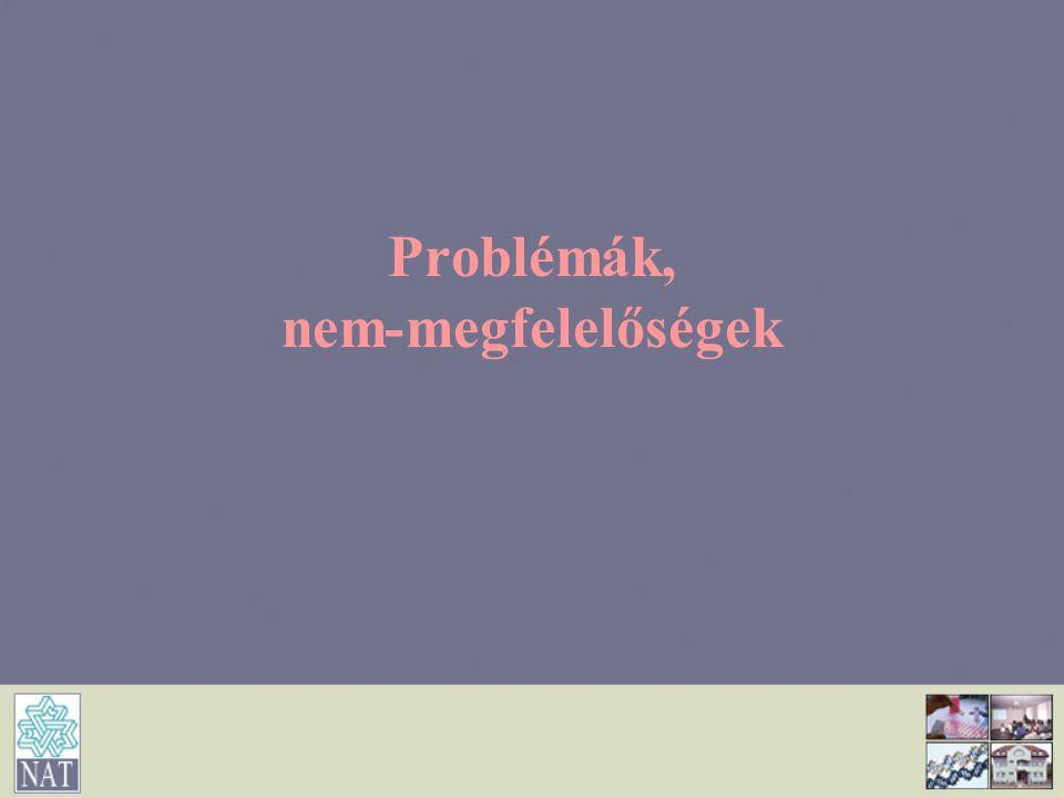 Problémák, nem-megfelelőségek