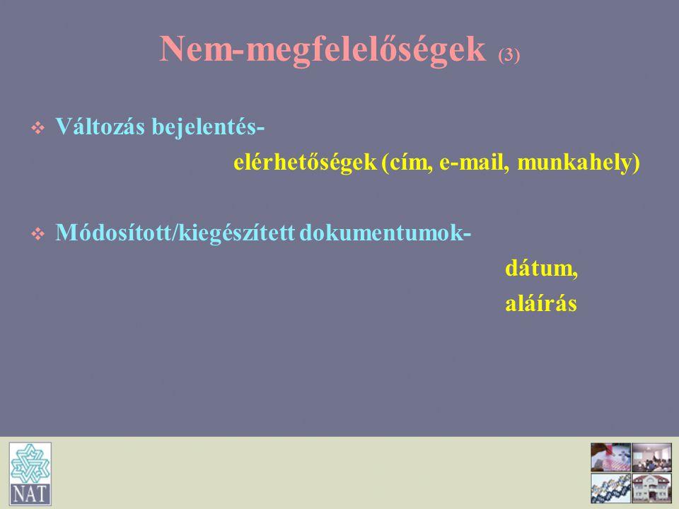Nem-megfelelőségek (3)