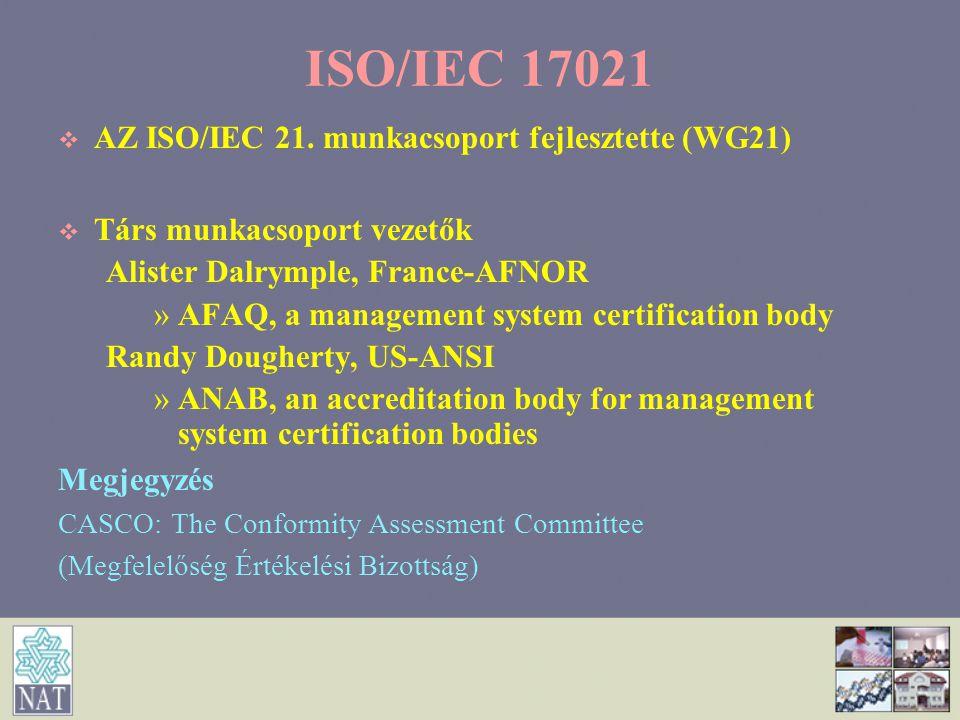 ISO/IEC 17021 AZ ISO/IEC 21. munkacsoport fejlesztette (WG21)