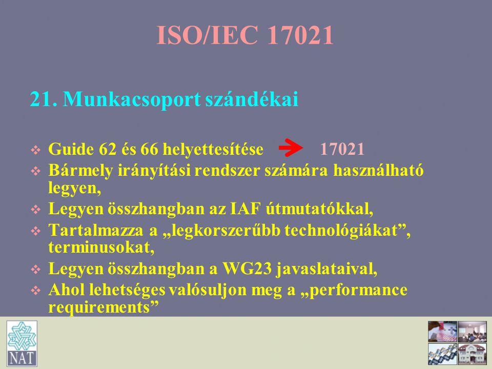 ISO/IEC 17021 21. Munkacsoport szándékai