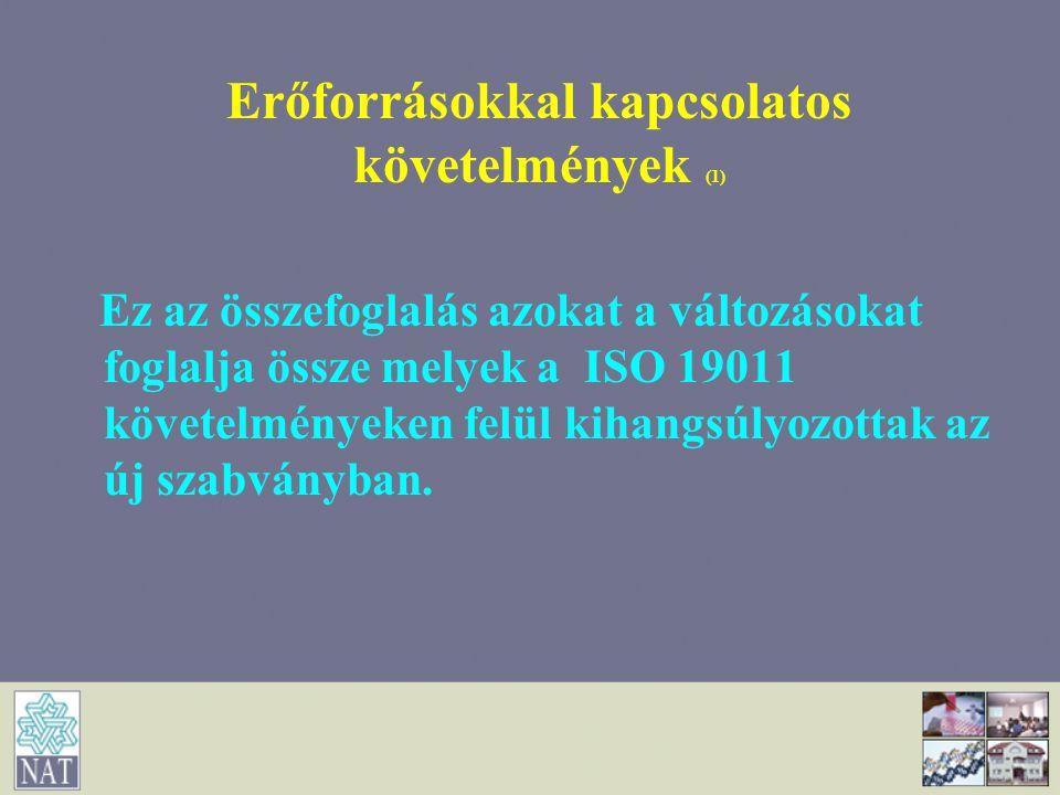 Erőforrásokkal kapcsolatos követelmények (1)