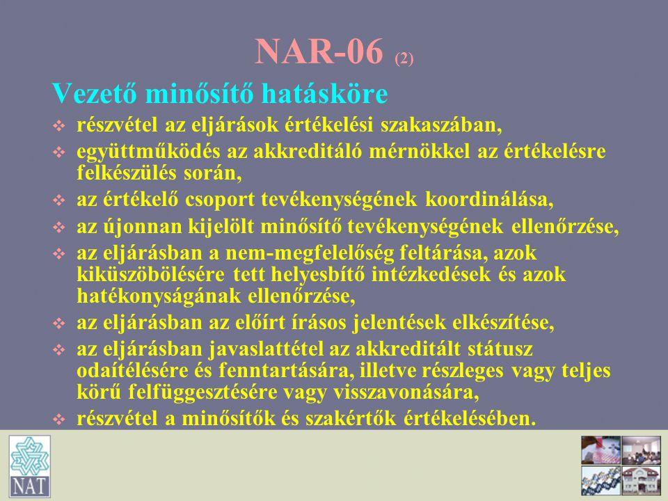 NAR-06 (2) Vezető minősítő hatásköre