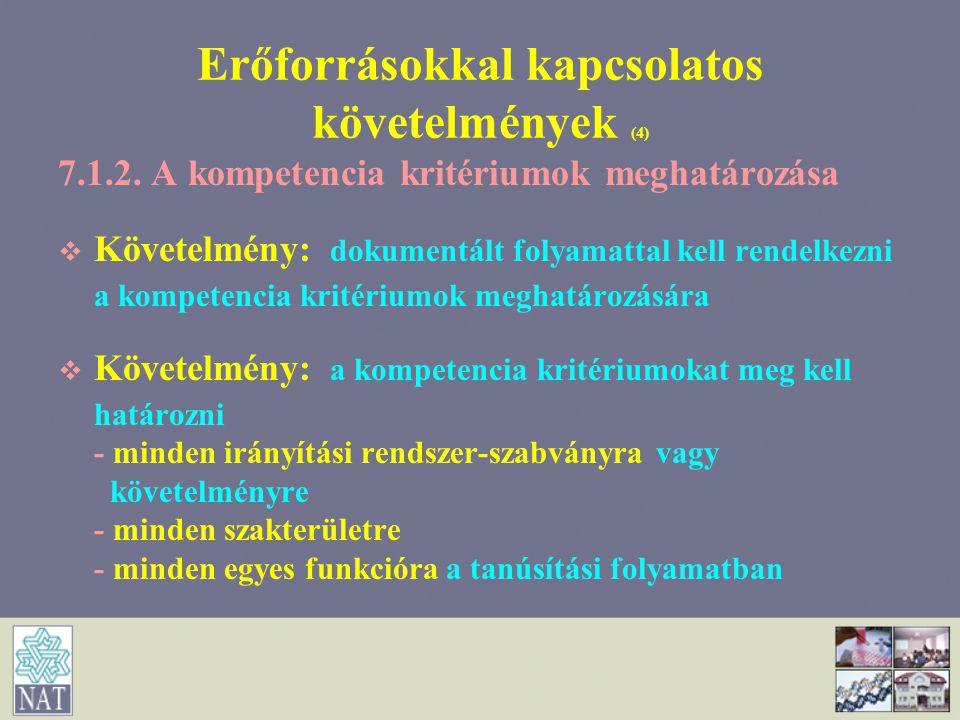 Erőforrásokkal kapcsolatos követelmények (4)