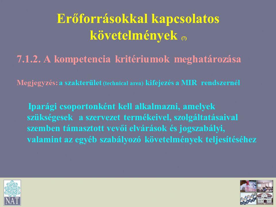 Erőforrásokkal kapcsolatos követelmények (7)