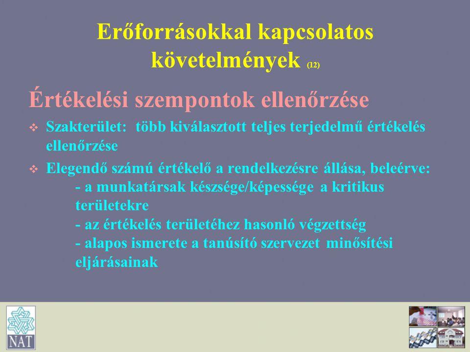 Erőforrásokkal kapcsolatos követelmények (12)