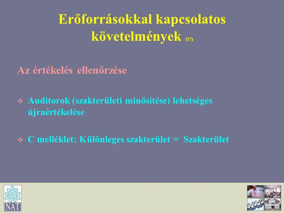 Erőforrásokkal kapcsolatos követelmények (17)