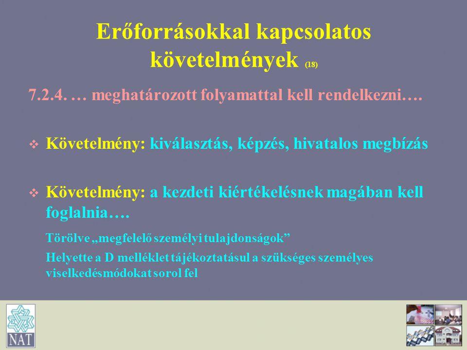 Erőforrásokkal kapcsolatos követelmények (18)