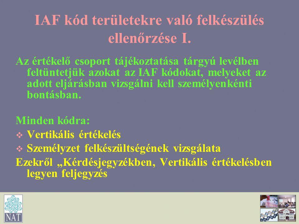 IAF kód területekre való felkészülés ellenőrzése I.