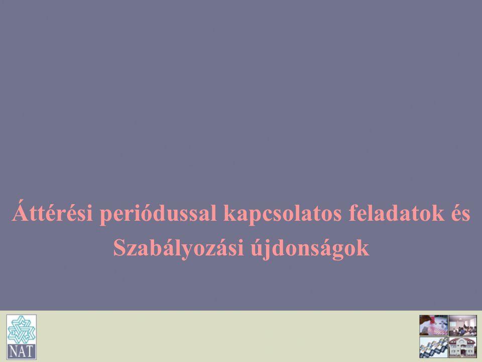 Áttérési periódussal kapcsolatos feladatok és Szabályozási újdonságok