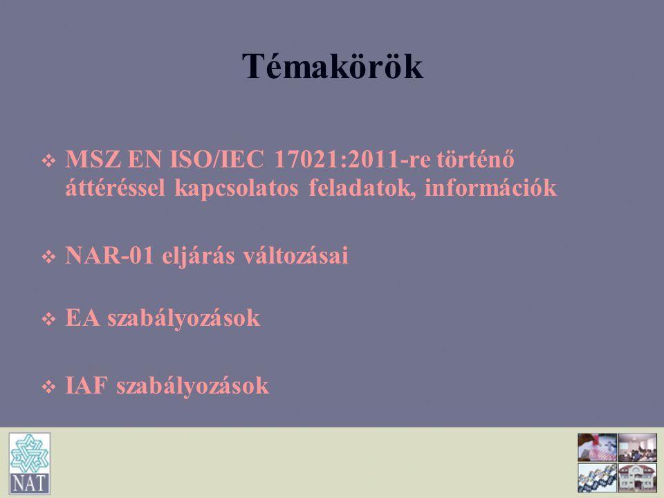 Témakörök MSZ EN ISO/IEC 17021:2011-re történő áttéréssel kapcsolatos feladatok, információk. NAR-01 eljárás változásai.