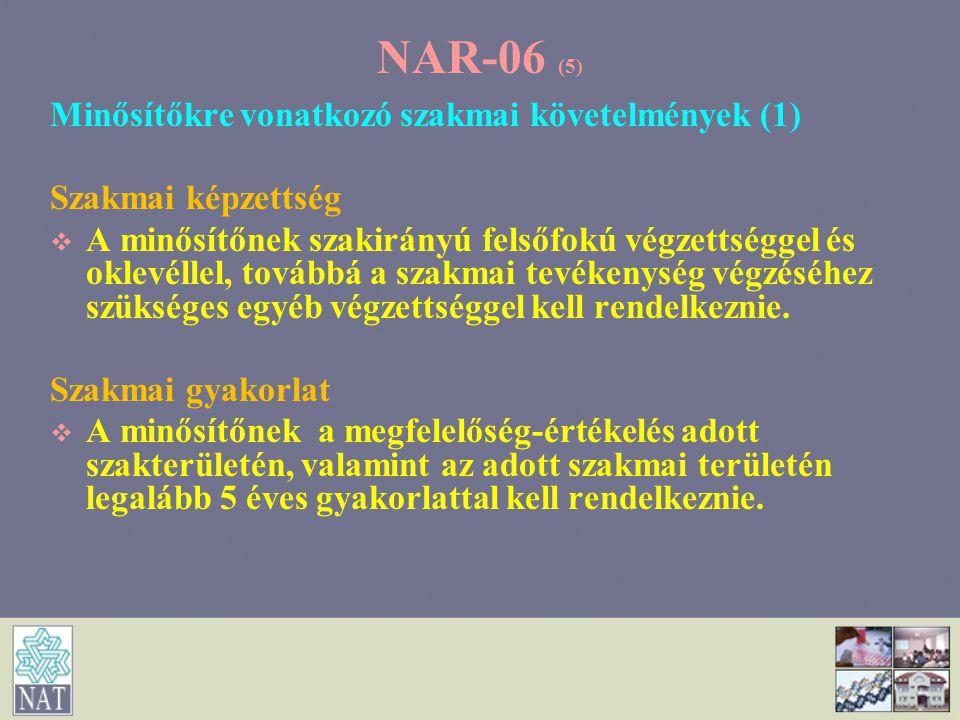 NAR-06 (5) Minősítőkre vonatkozó szakmai követelmények (1)
