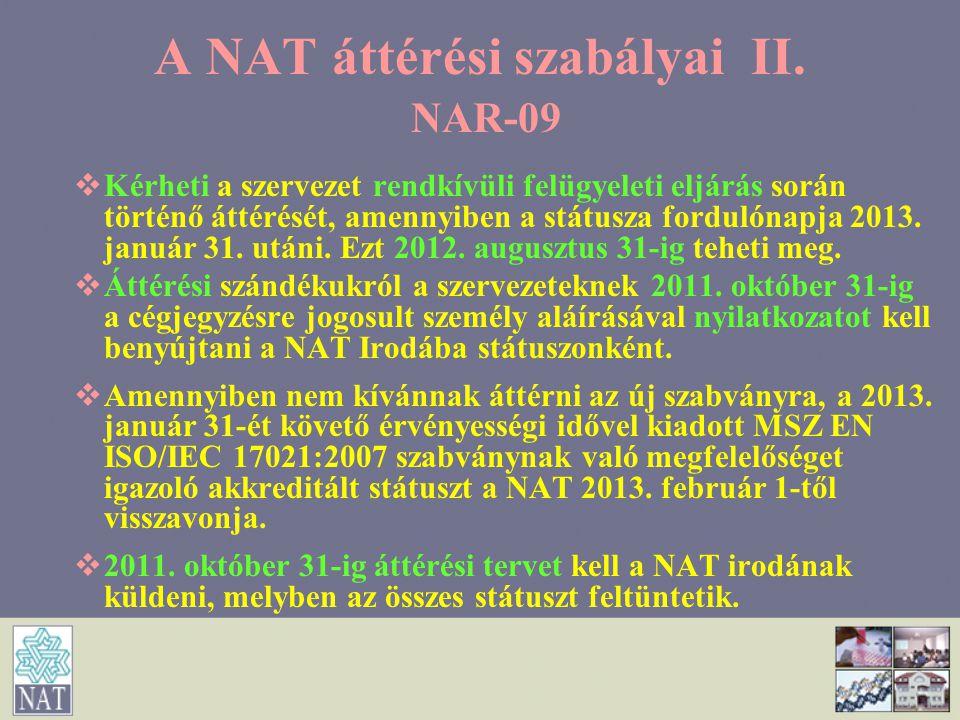 A NAT áttérési szabályai II. NAR-09