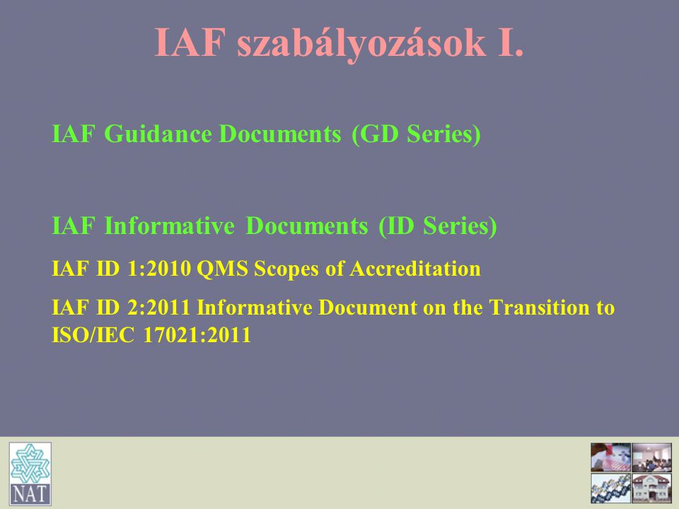 IAF szabályozások I. IAF Guidance Documents (GD Series)