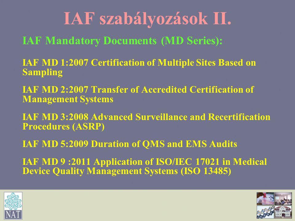 IAF szabályozások II. IAF Mandatory Documents (MD Series):