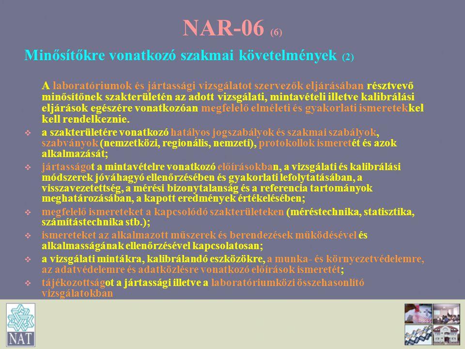 NAR-06 (6) Minősítőkre vonatkozó szakmai követelmények (2)