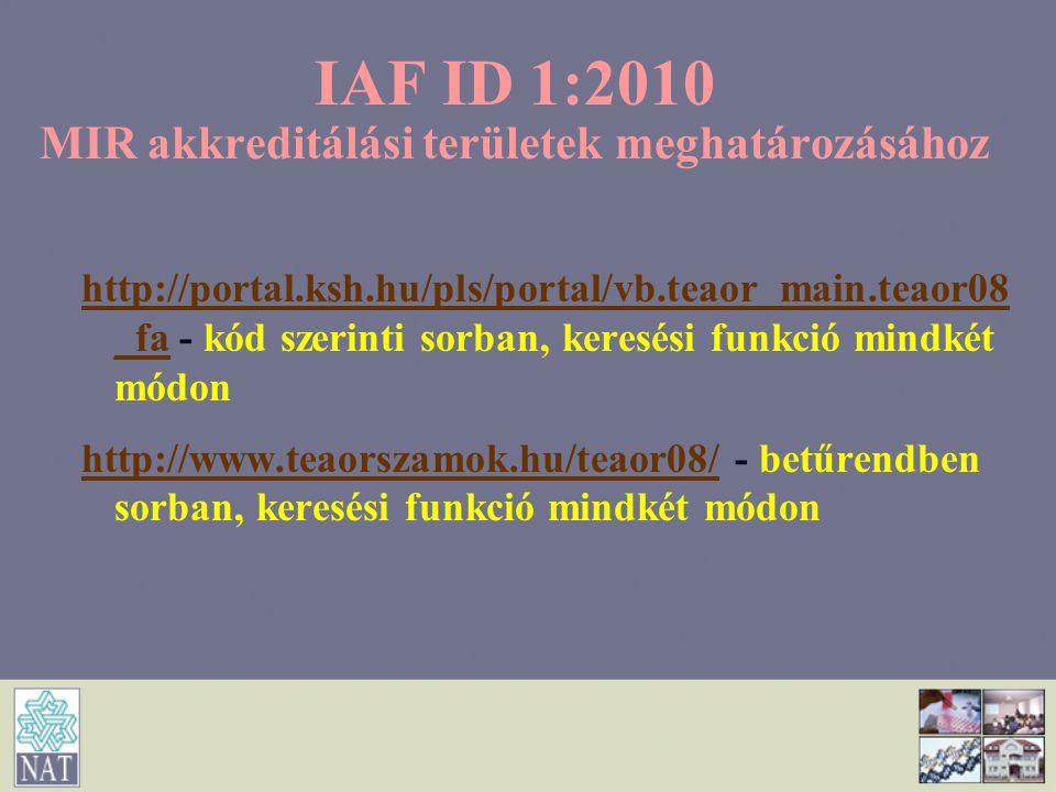 IAF ID 1:2010 MIR akkreditálási területek meghatározásához