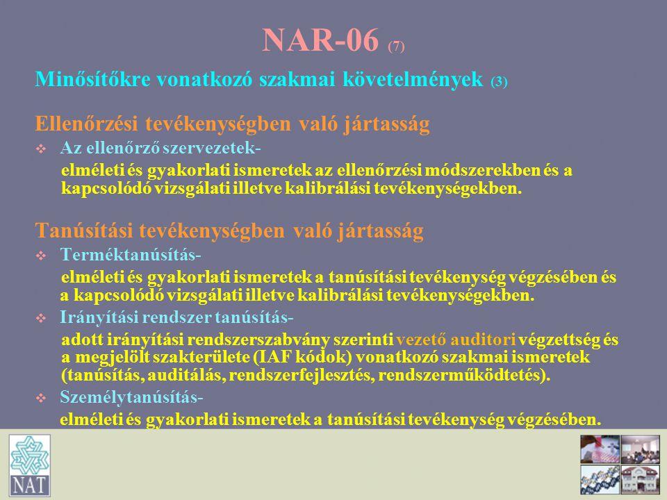 NAR-06 (7) Minősítőkre vonatkozó szakmai követelmények (3)